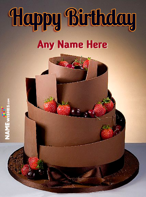Chocolate Strawberries Cherries Layers Birthday Cake With Name For Friends