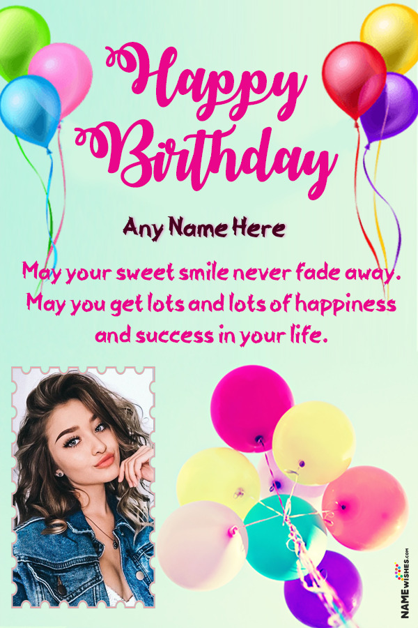 Colorful Balloons Birthday Wish With Name and Photo Online Edit
