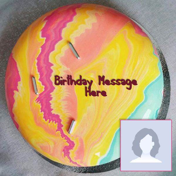 Colorful Birthday Cake With Name and Photo
