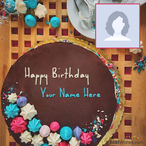 Colorful Chocolate Birthday Cake With Name