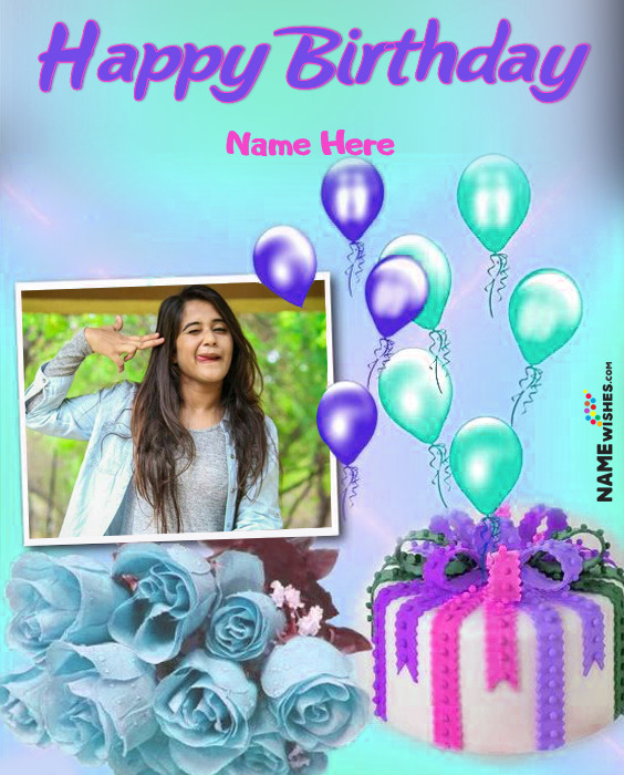 Colorful Happy Birthday Flowers Wish With Name and Photo For Friends