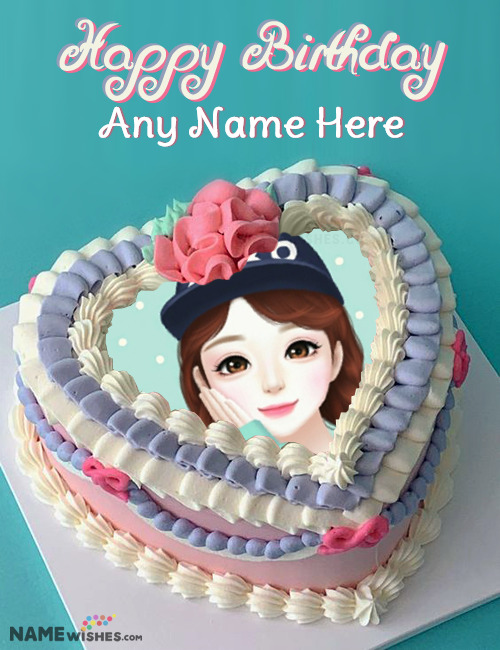 Colorful Heart Birthday Cake With Photo and Name