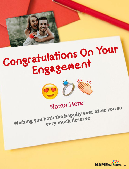 Congratulations Engagement Wish Card For Couple with Photo and Name