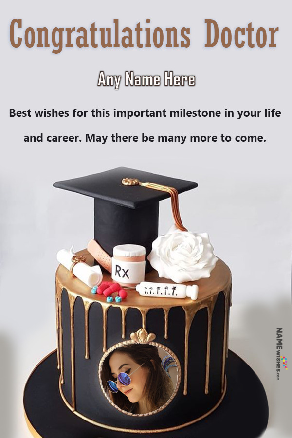 Congratulations Message for Doctors Cake With Name and Pic