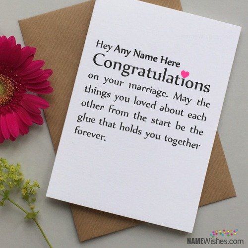 Congratulations Wedding Wishes With Name Writing Option