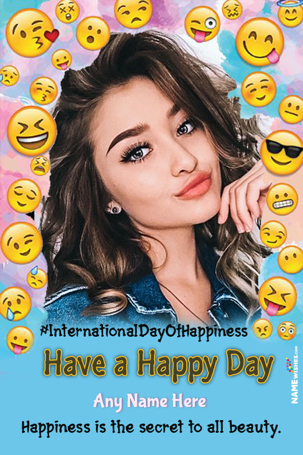 Cool Funky International Day of Happiness Photo Frame with Name