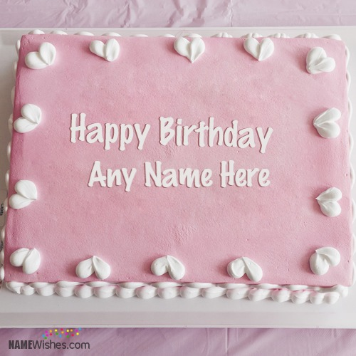 Cool Pink Birthday Cake With Name