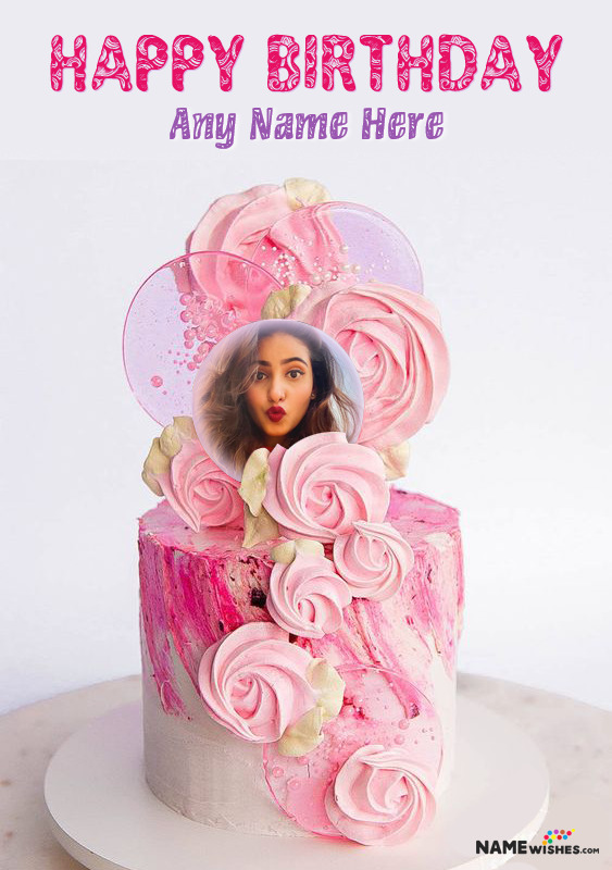 Cool Rose Birthday Cake With Name and Photo For Friend or Sister