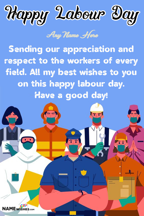 CoronaVirus Labour Day Wishes With Name - COVID-19 Labour Day Images