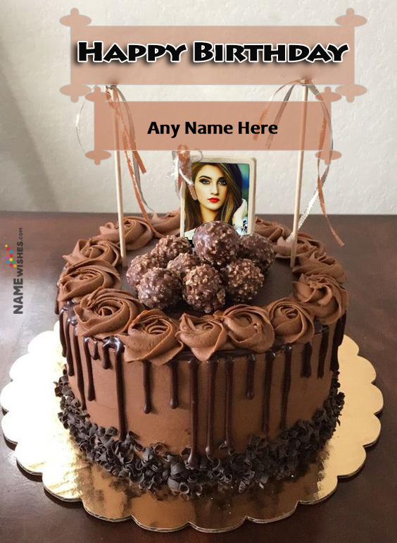 Crunchy Snickers Chocolate Cake For Birthday With Name and Photo