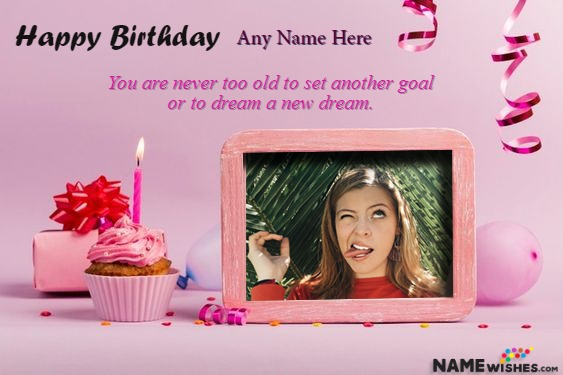 Cupcake Birthday Wish for Love with Name and Photo
