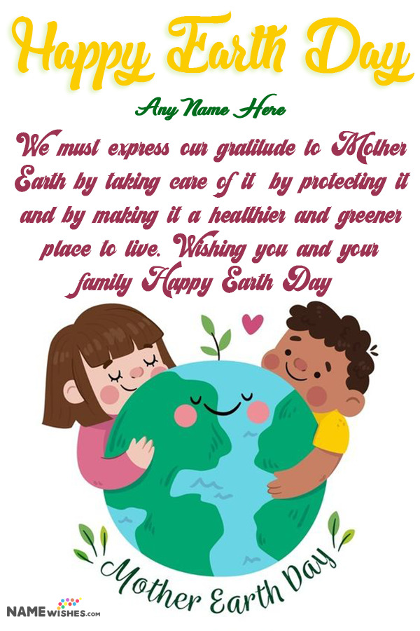 Cute Earth Day Wishes with Name - Digital Art Illustration of Earth Day