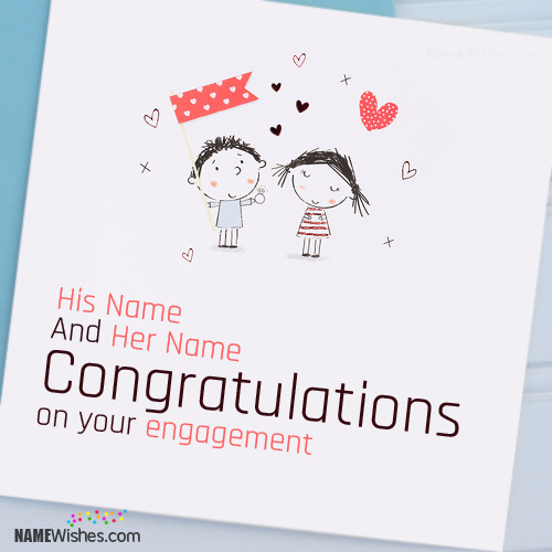 Cute Engagement Wishes With Couple Names