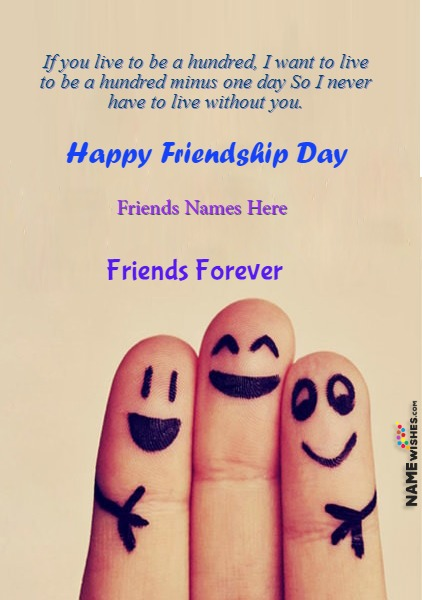 Cute Friendship Day Quotes with Friends Names