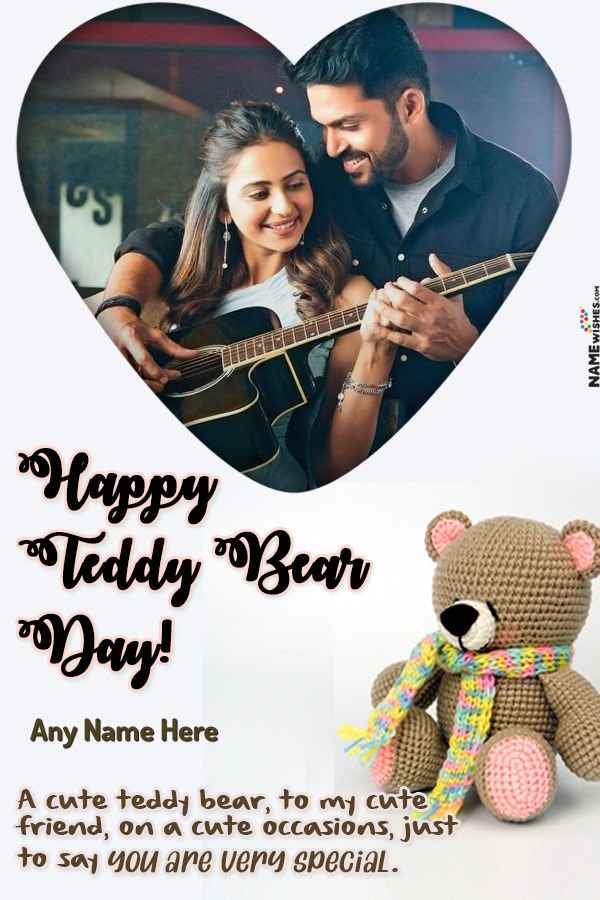 Cute Heart Happy Teddy Bear Day Wish With Name and Photo Free Online