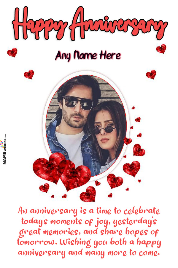 Cute Hearts Anniversary Wish With Name and Photo Frame Online
