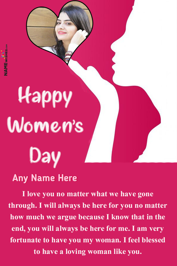 Cute Herat and Girl Wish For Women's Day With Name Edit