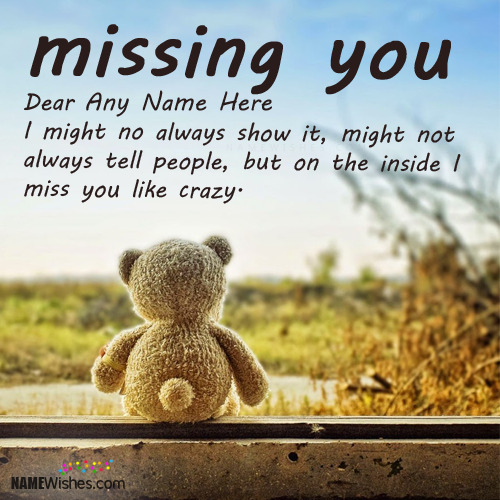 Cute Teddy Miss You Images With Name