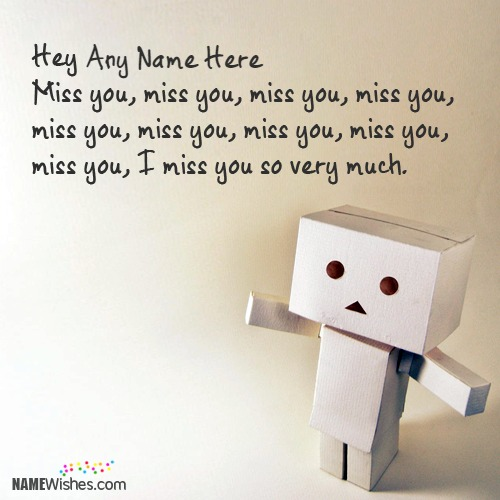 Danbo Cute Miss You Image With Name