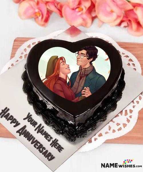 Dark Chocolate Anniversary Cake With Name and Photo - Heart Cake