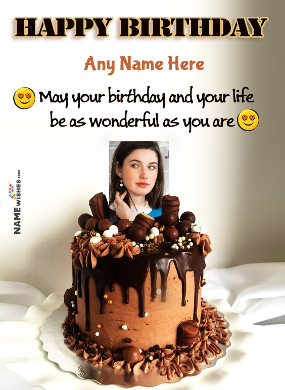 Dark Chocolate Birthday Cake Wish With Name and Photo For Friends