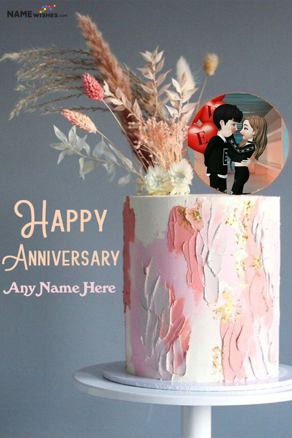 Digital Art Anniversary Cake With Name and Photo Frame