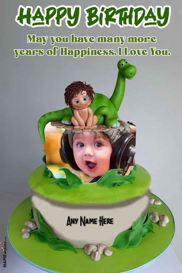 Dinosaur Themed First Birthday Cake With Name and Photo