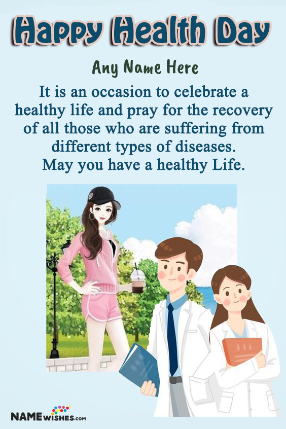 Doctor Cartoon Happy Health Day Wishes With Name and Photo