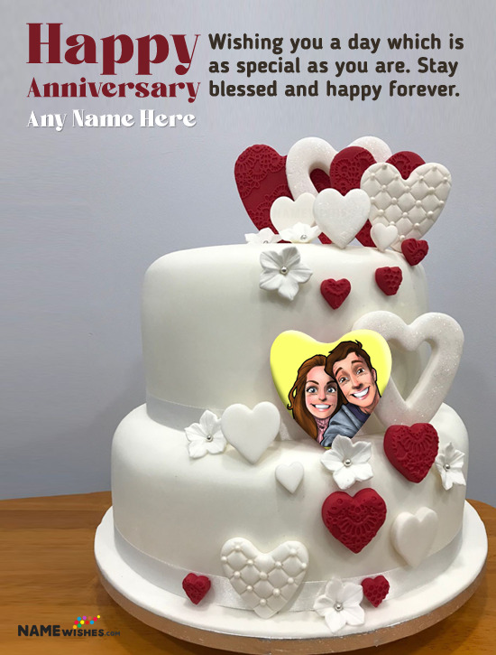 Double Hearts Anniversry Cake with Name and Photo Wish