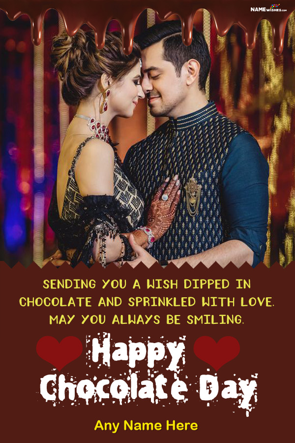 Dripping Happy Chocolate Day Wish With Name and Online Photo Gift