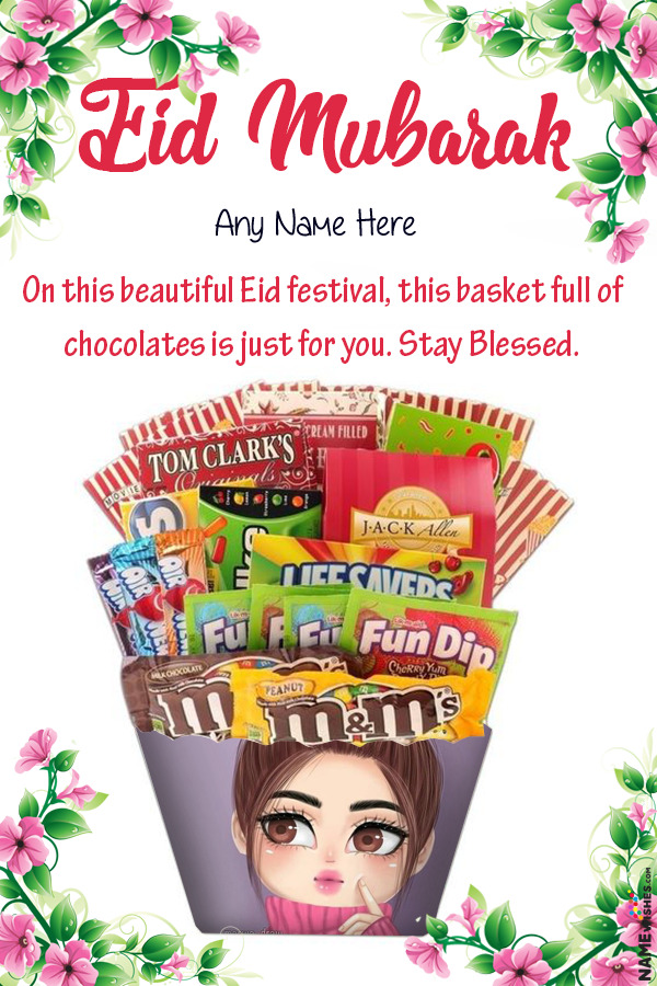 Eid chocolates Basket Wish With name and Pic Online Gift