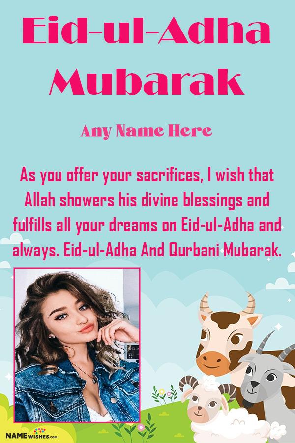 Eid ul Adha Mubarak Animated Cartoon Animals Wishes