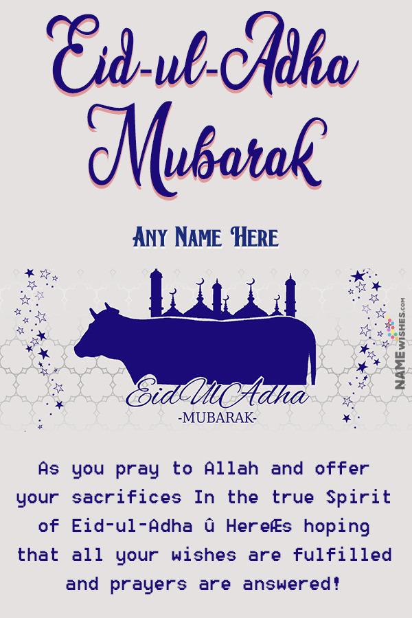 Eid ul Adha Mubarak Wishes With Name and Pic