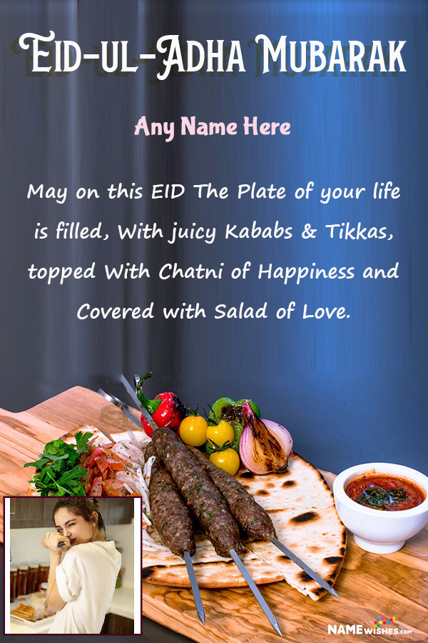 Eid ul Adha Platter Wish With Name and Pic Editor