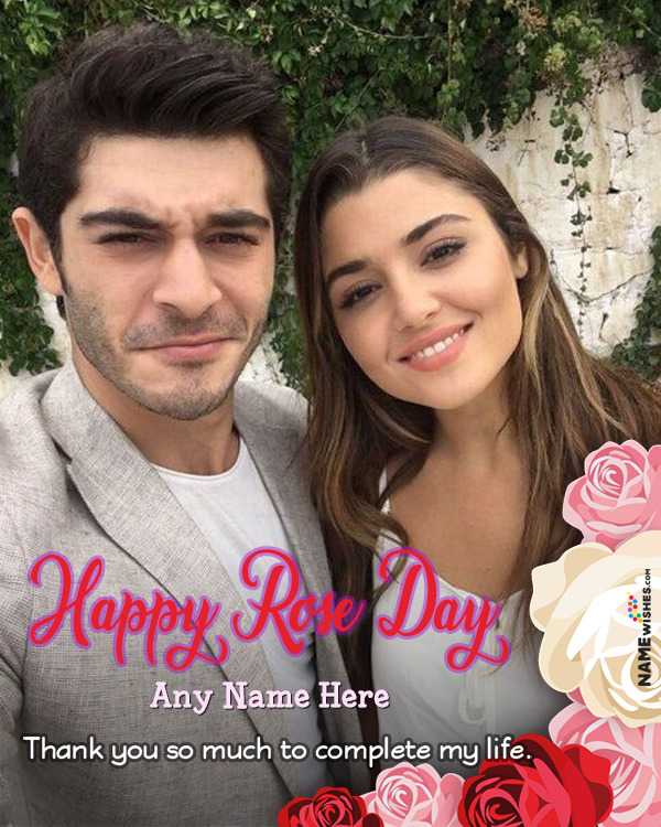 Elegant Happy Rose Day Wish With Name and Photo Online