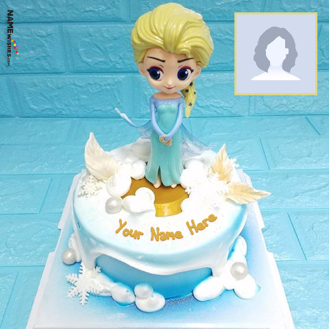Elsa Birthday Cake With Name and Photo