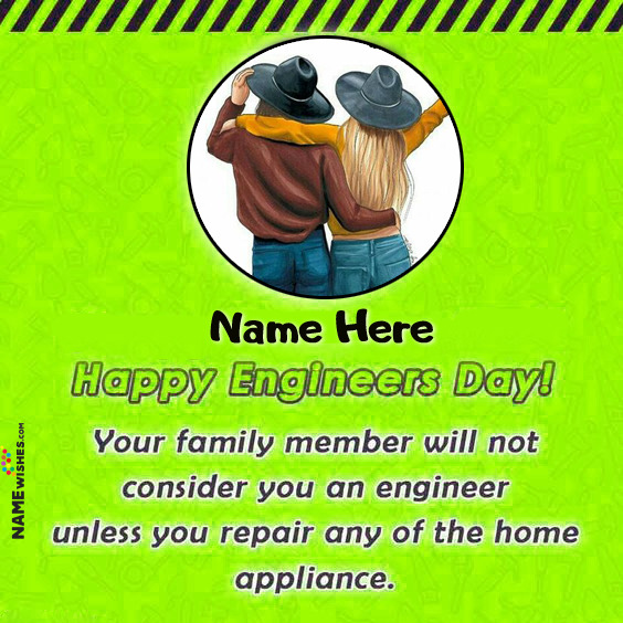 Engineer Day Greetings Wishes With Name and Photo
