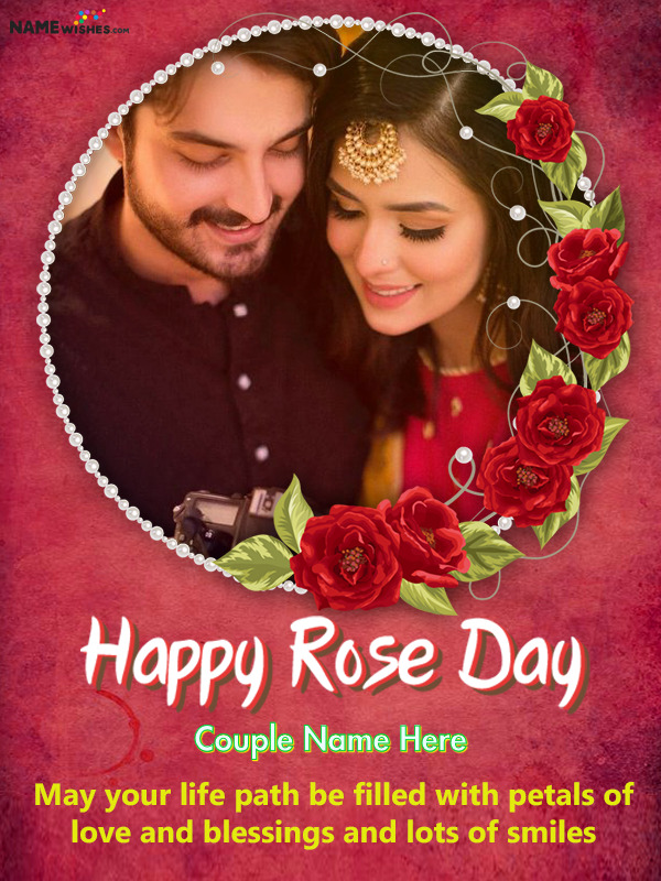 Floral Happy Rose Day Wish With Name and Photo For Lovers