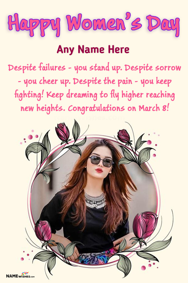 Floral Happy Womens Day Photo Frame With Name Edit Online