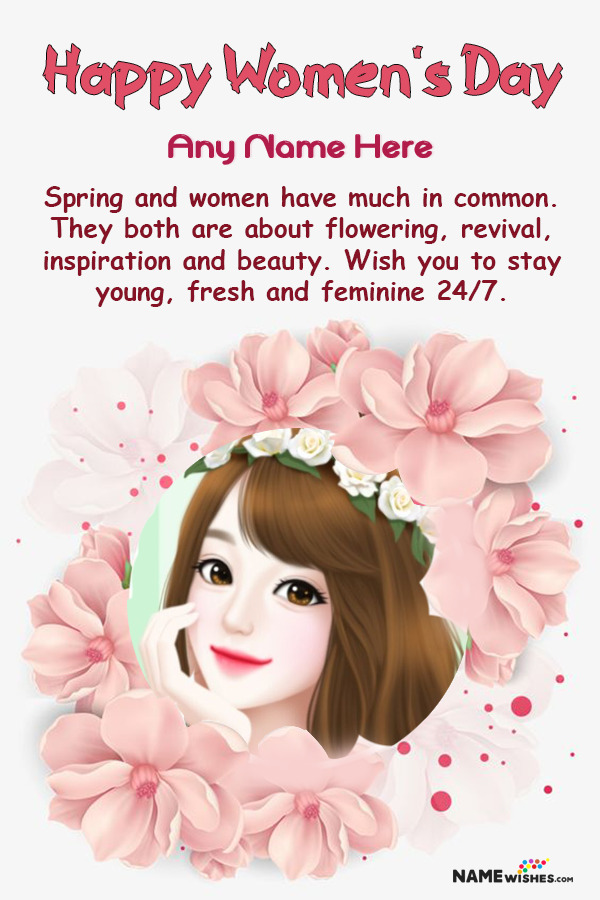 Floral Happy Women's Day Wish With Name and Pic Edit Online