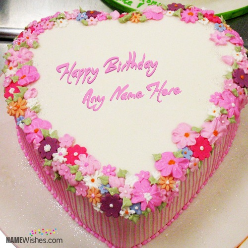 Floral Heart Birthday Cake With Name