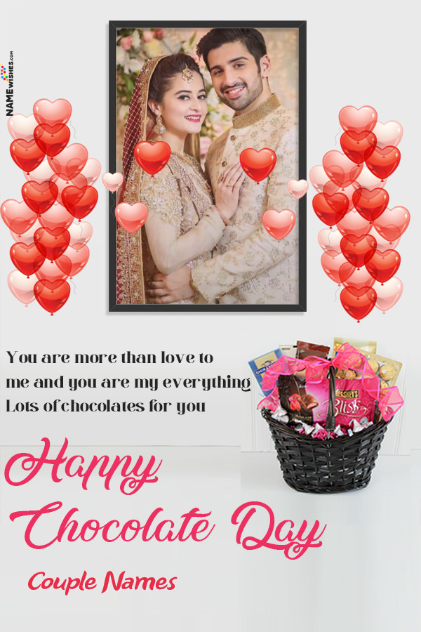 Flowers Happy Chocolate Day Wish With Name and Photo Edit Online