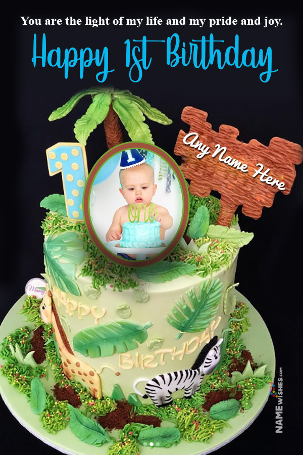 Forest Themed 1st Birthday Cake With Name and Photo For Boys and Girls