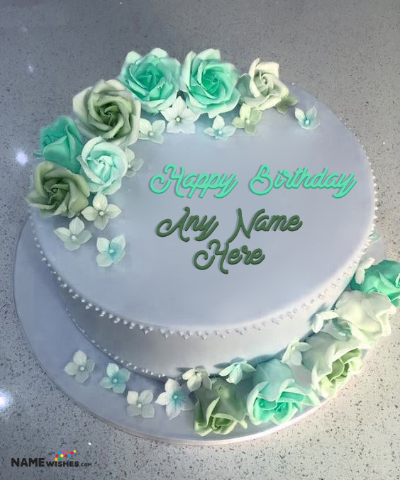 Fresh Flowers Birthday Cake With Name For Wife or Sister or Friend