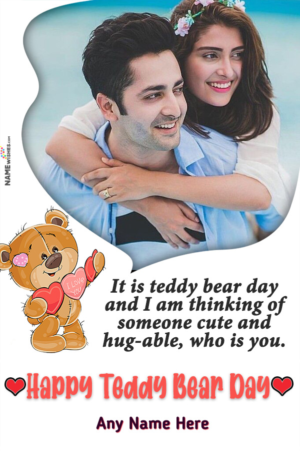 Funky Brown Happy Teddy Bear Day Wish With Name and Photo Edit Online