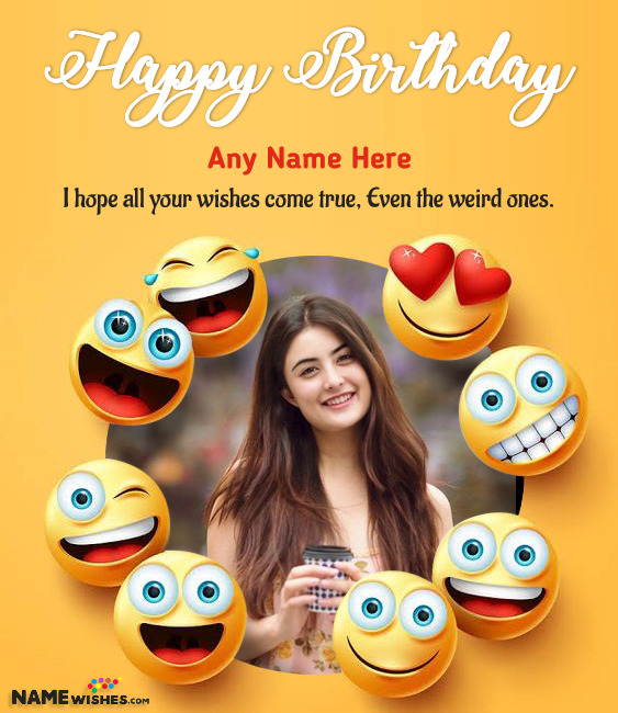 Funky Emoji Birthday Wish for Friend with Name and Photo