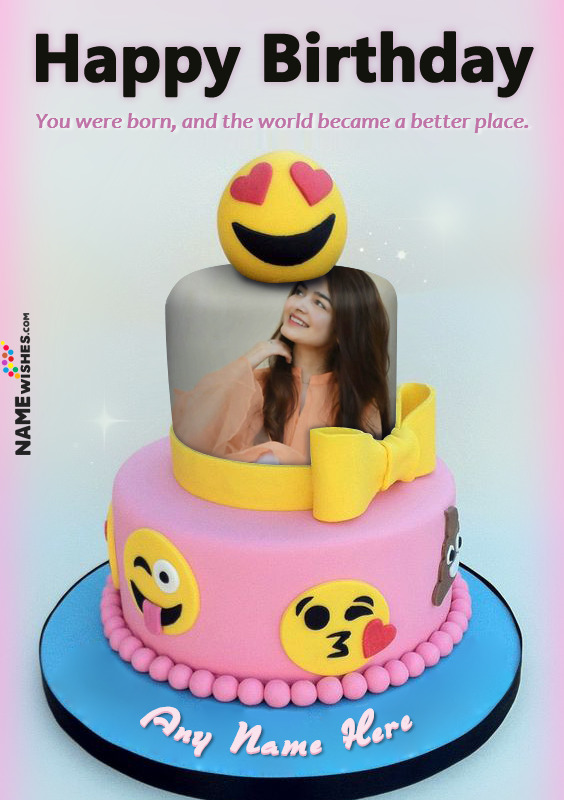 Funky Happy Birthday Emoji Cake With Name And Photo For Girls