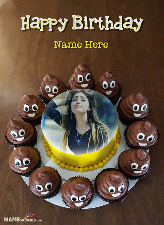 Funny Smiley Emoji and Poop Happy Birthday Cake With Name And Photo