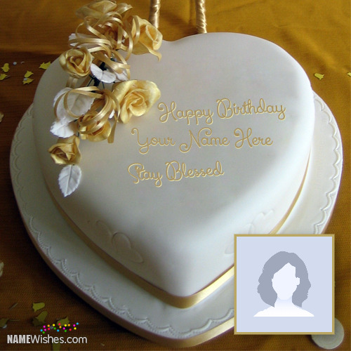 Golden Heart Birthday Cake With Name