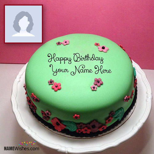 Green Birthday Cake With Name Editing and Photo Frame
